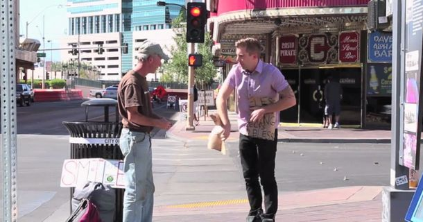 Man Rips Up Homeless Guy's Sign, Then Does Something Amazing